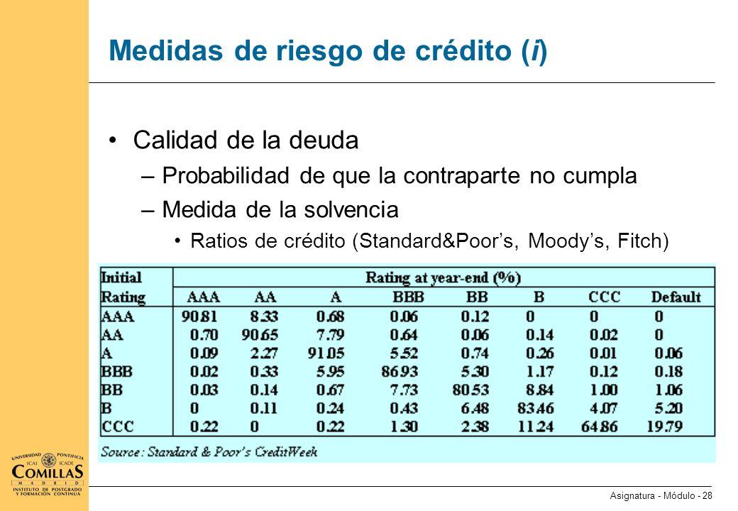 Medidas de riesgo de crédito (ii)
