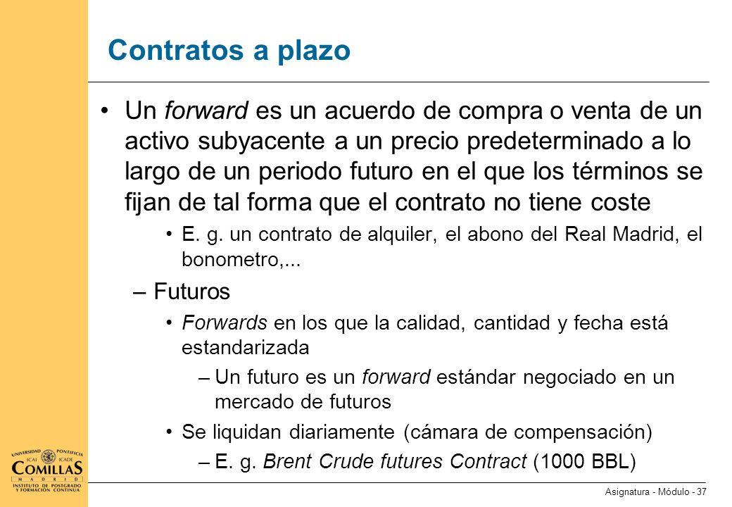 Contratos a plazo (ii) Posición corta: acuerdo de venta