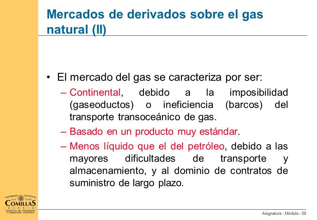 Mercados de derivados sobre el gas natural (III)