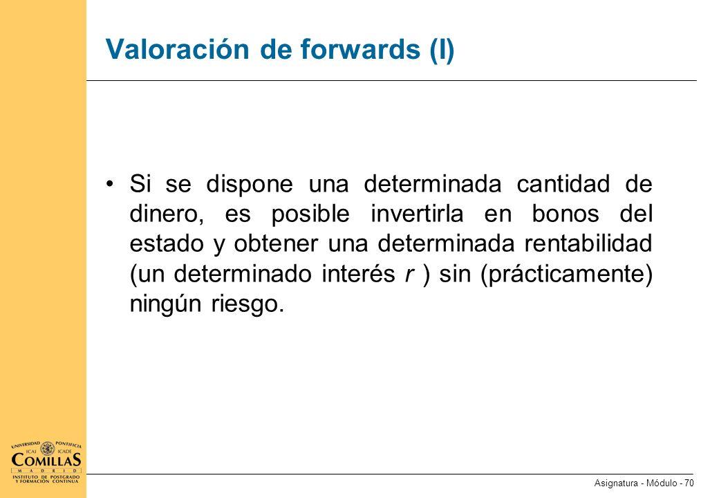 Valoración de forwards (II)