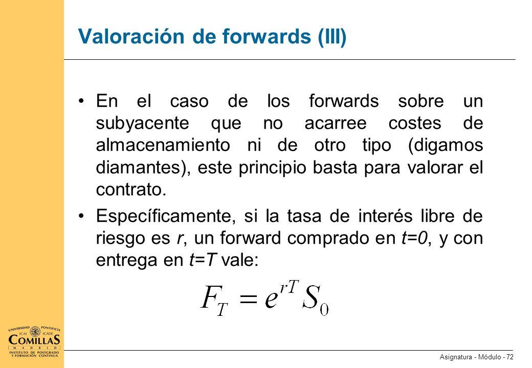 Valoración de forwards (IV)