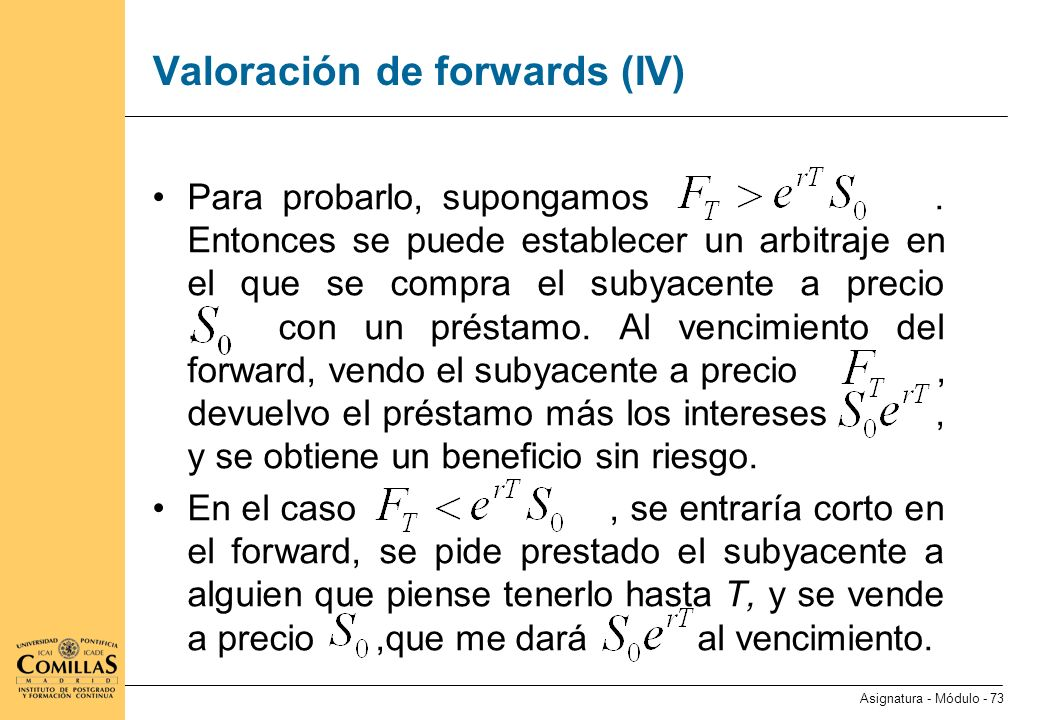 Valoración de forwards (V)