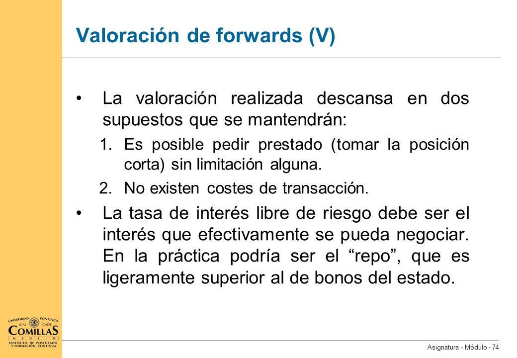 Valoración de forwards (VI)