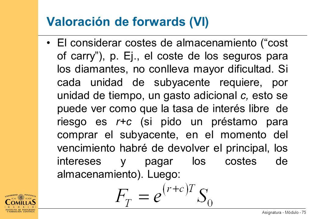 Valoración de forwards (VII)