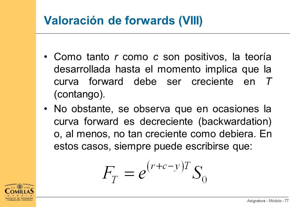 Valoración de forwards (IX)