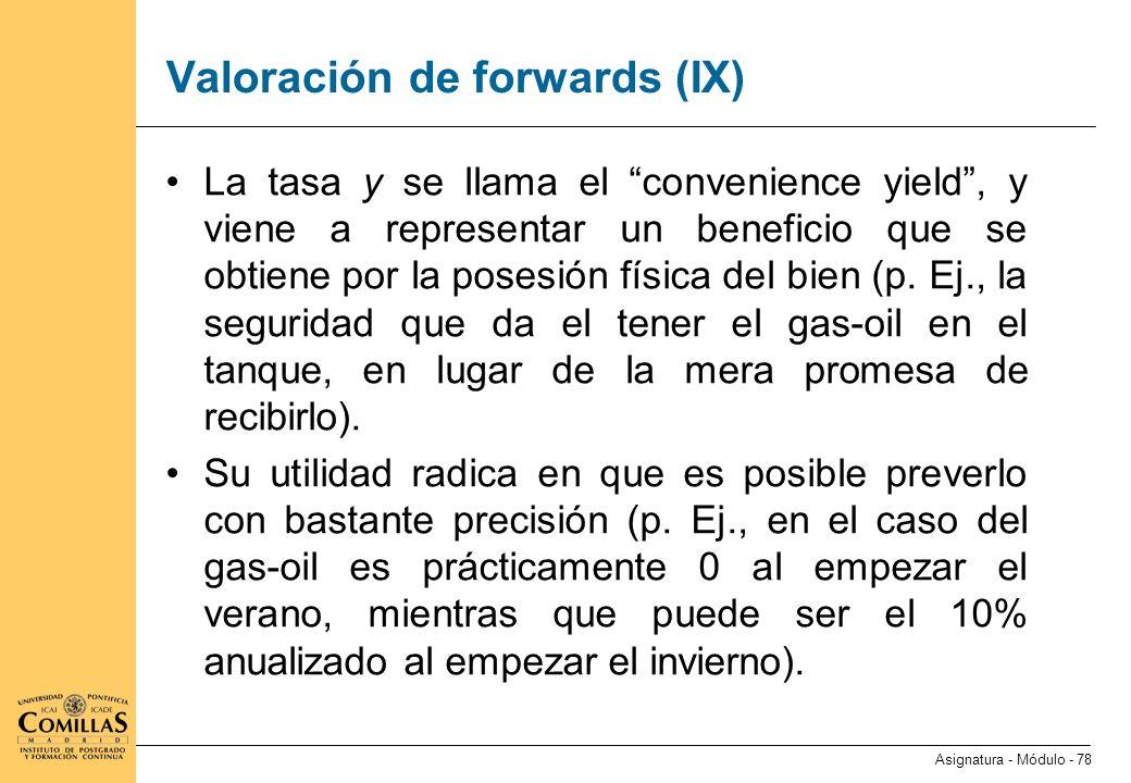 Valoración de forwards (X)