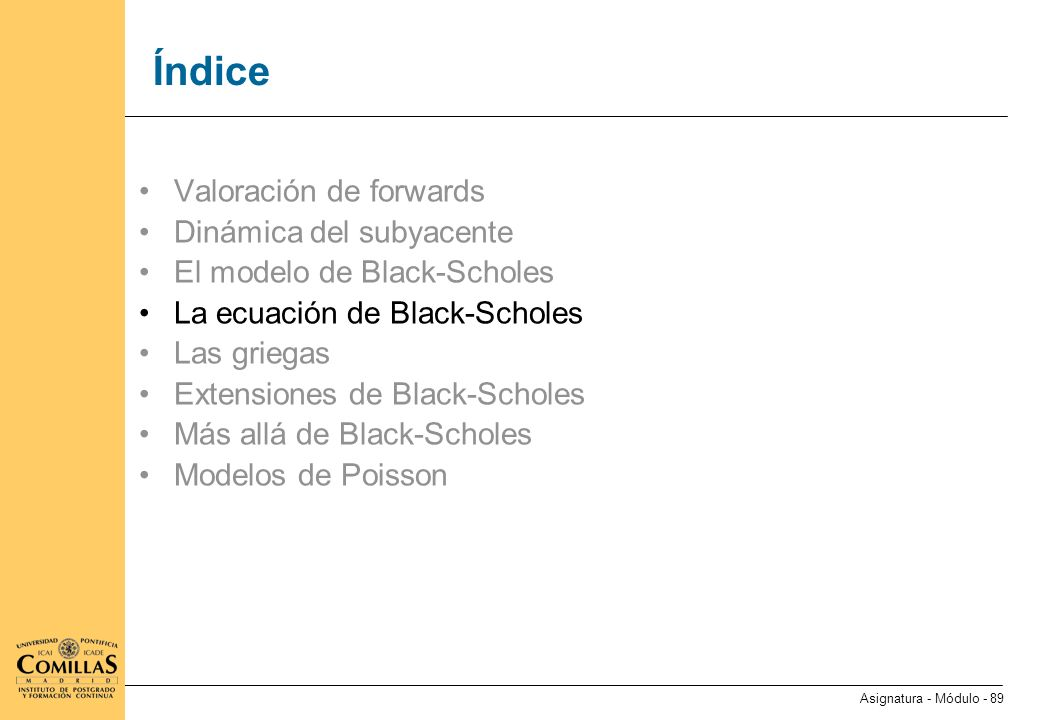 La ecuación de Black-Scholes (I)