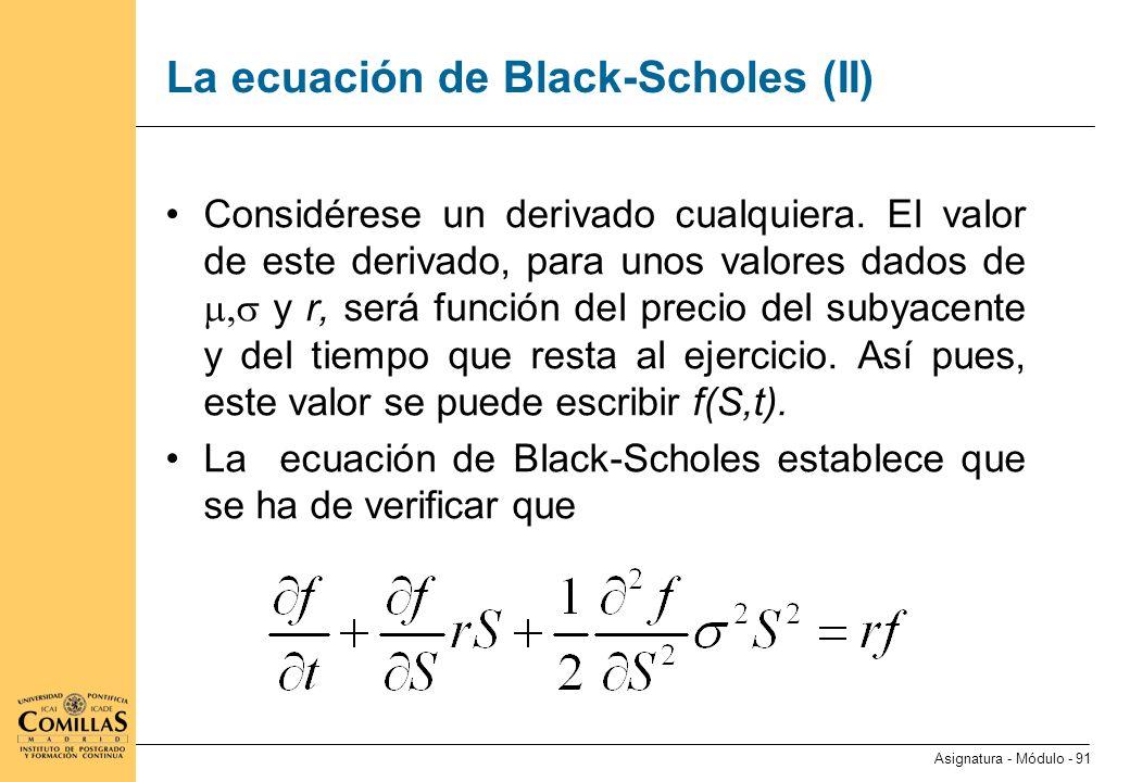La ecuación de Black-Scholes (III)