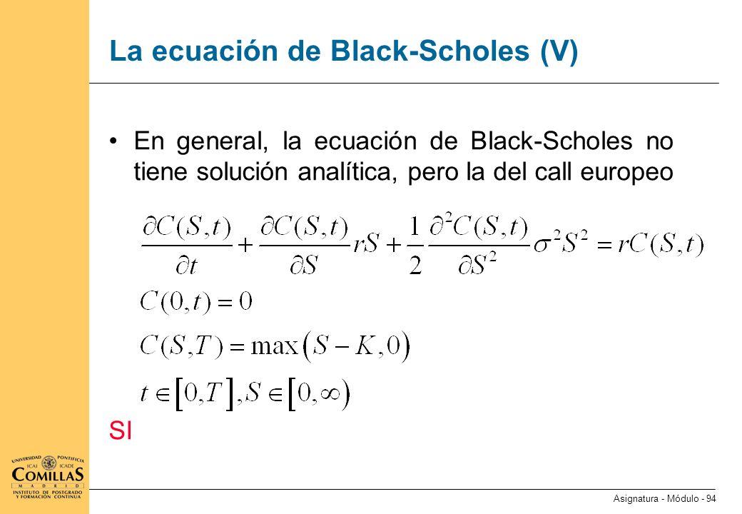 La ecuación de Black-Scholes (VI)
