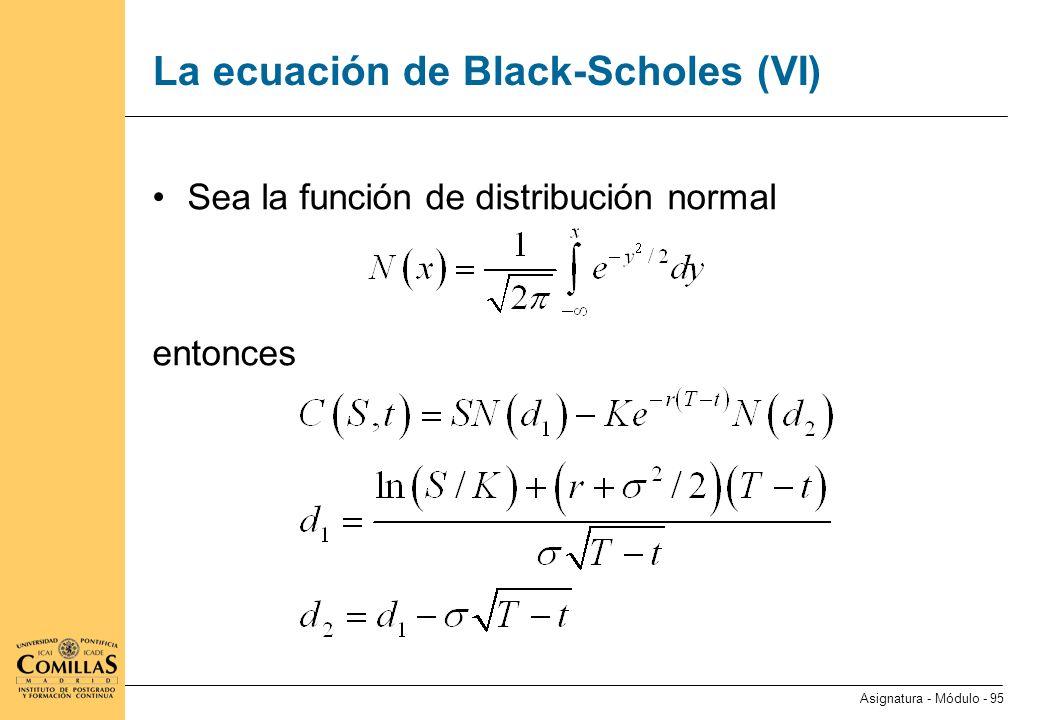 La ecuación de Black-Scholes (VII)