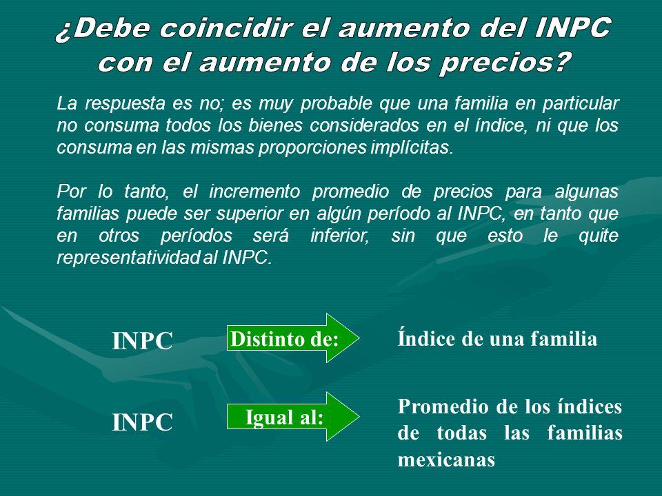 ¿Debe coincidir el aumento del INPC con el aumento de los precios