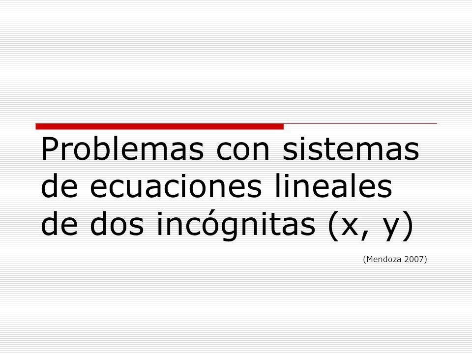 Problemas con sistemas de ecuaciones lineales de dos incógnitas (x, y)