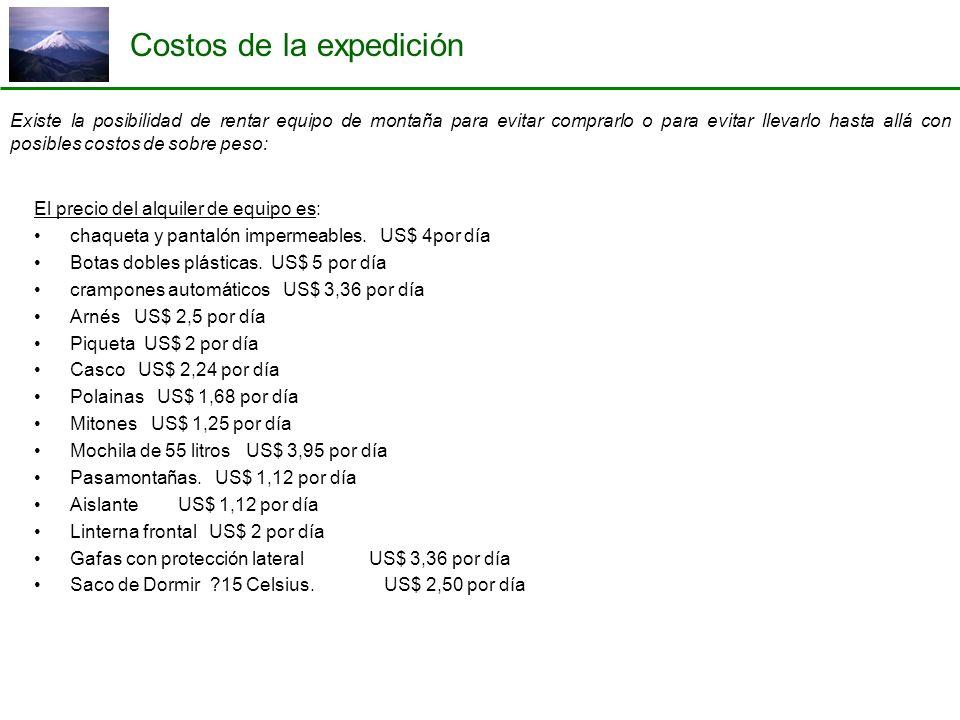 Costos de la expedición