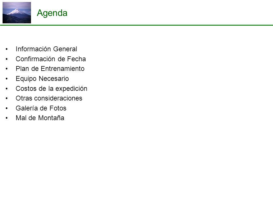 Agenda Información General Confirmación de Fecha Plan de Entrenamiento