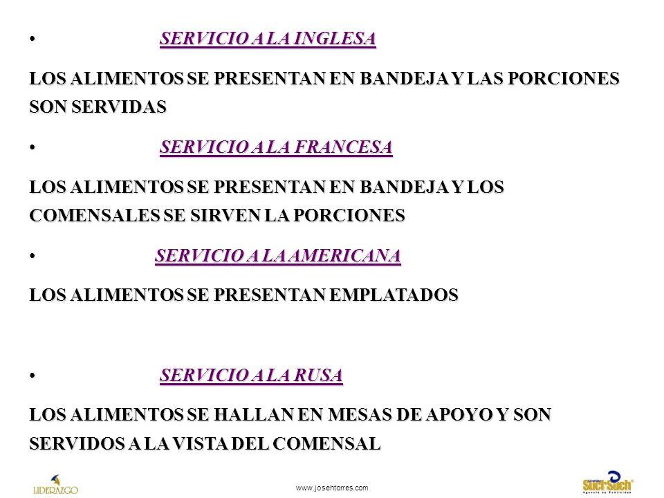 LOS ALIMENTOS SE PRESENTAN EN BANDEJA Y LAS PORCIONES SON SERVIDAS