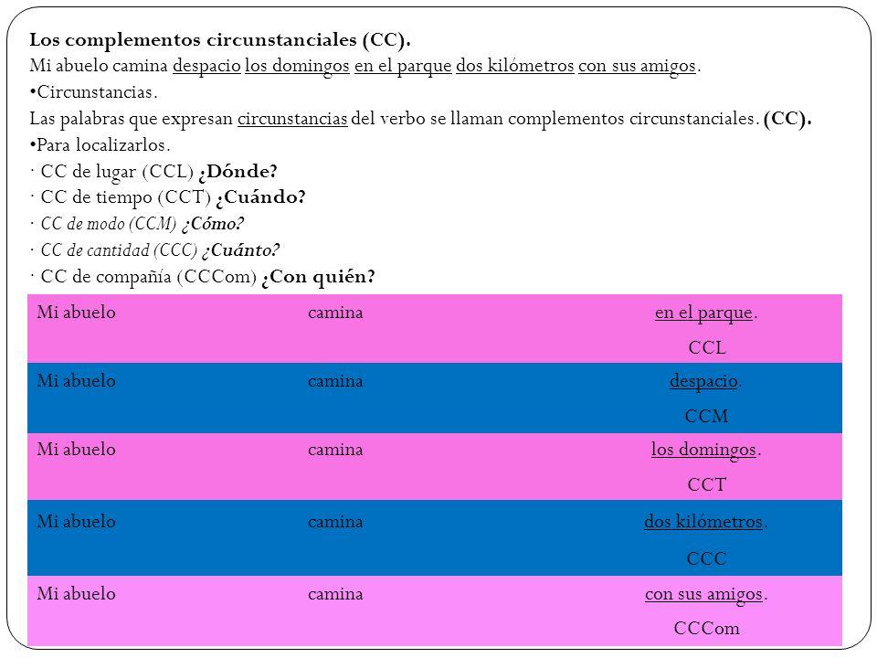 Los complementos circunstanciales (CC).