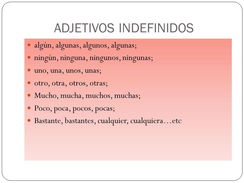 ADJETIVOS INDEFINIDOS
