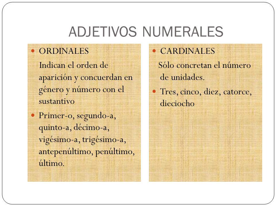 ADJETIVOS NUMERALES ORDINALES