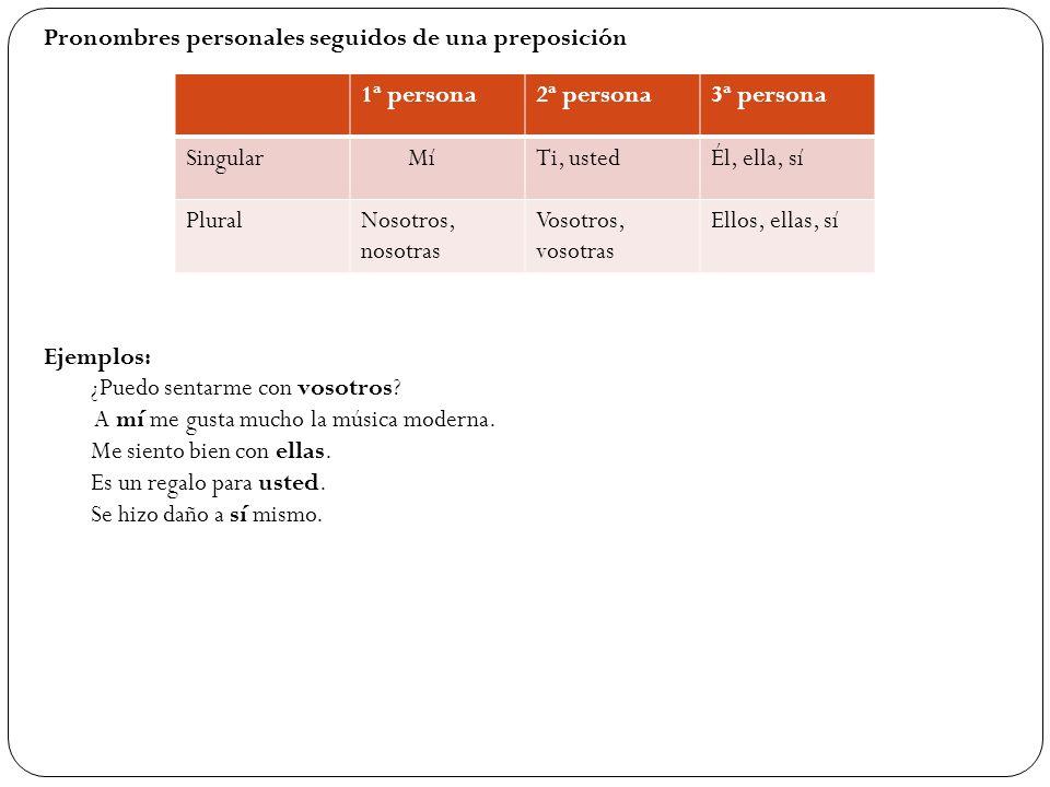 Pronombres personales seguidos de una preposición
