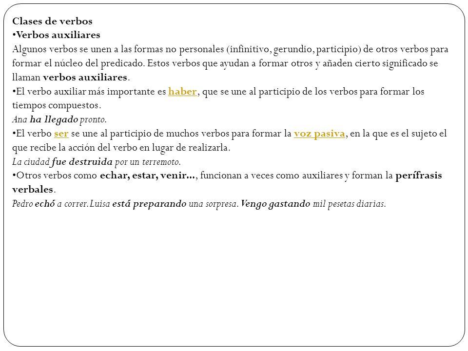Clases de verbos Verbos auxiliares.