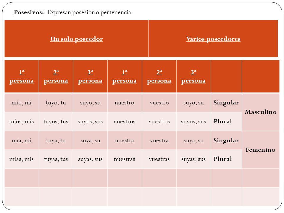 Posesivos: Expresan posesión o pertenencia. Un solo poseedor. Varios poseedores. 1ª persona. 2ª persona.