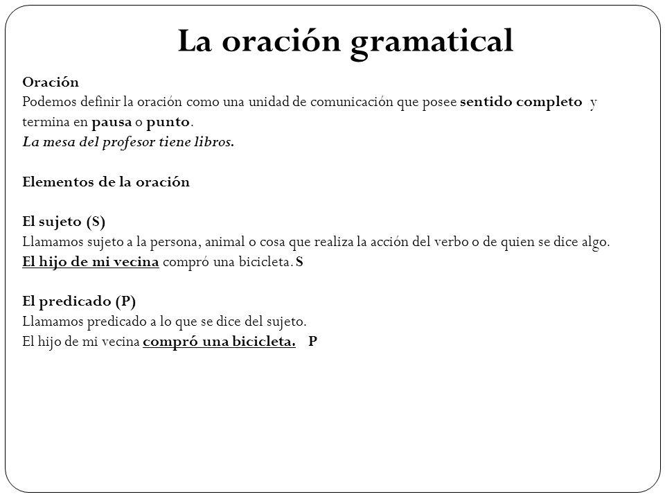 La oración gramatical Oración