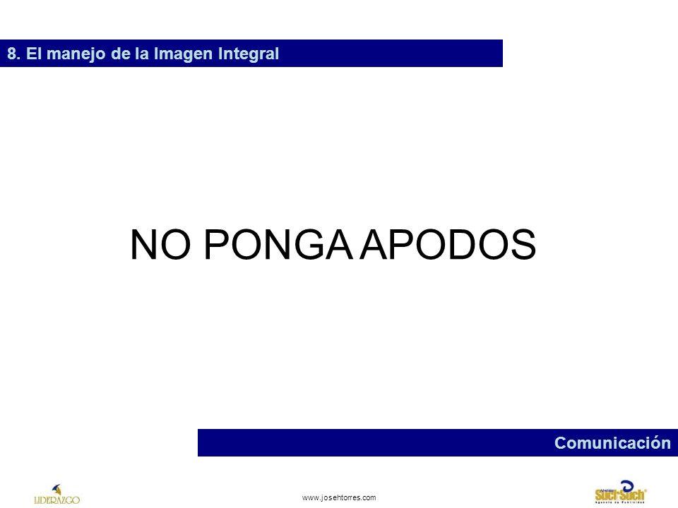 NO PONGA APODOS 8. El manejo de la Imagen Integral Comunicación