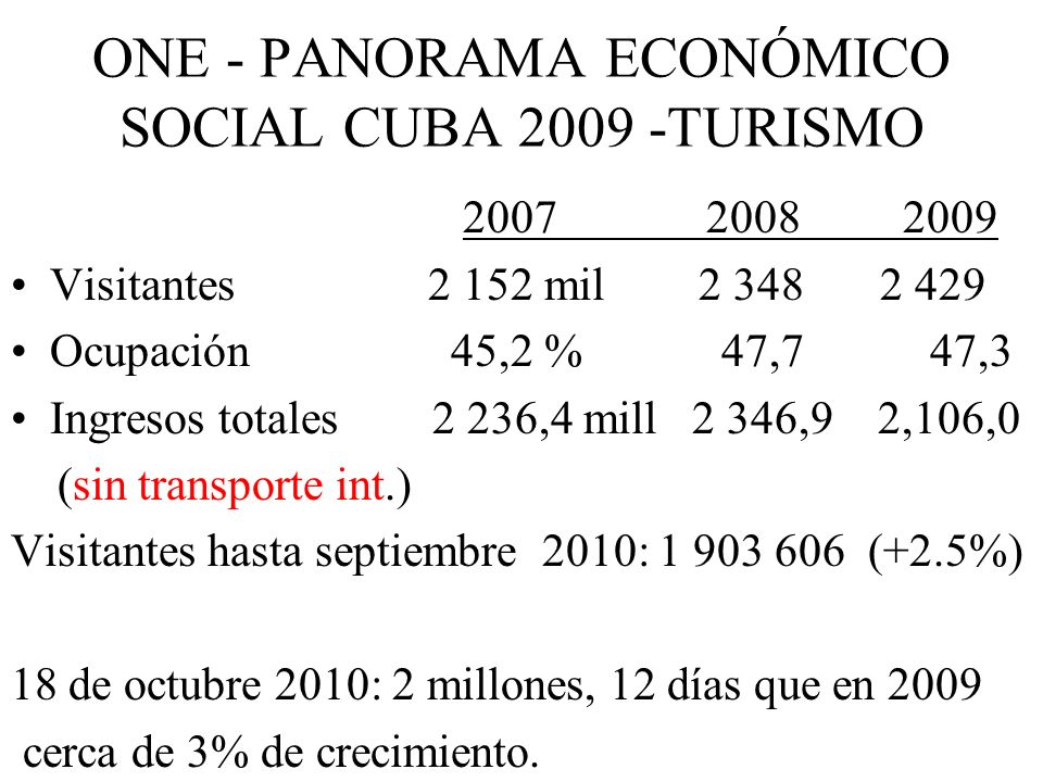 ONE - PANORAMA ECONÓMICO SOCIAL CUBA 2009 -TURISMO