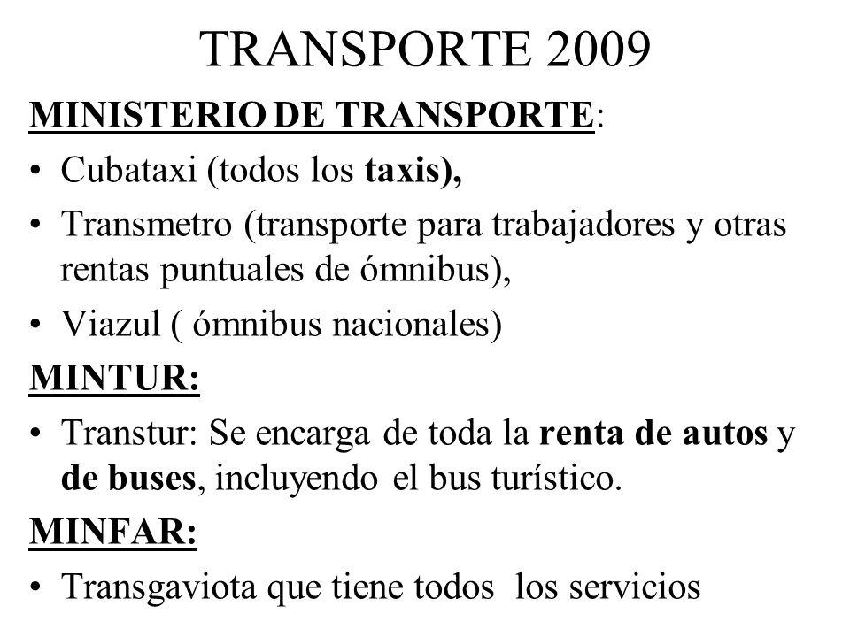 TRANSPORTE 2009 MINISTERIO DE TRANSPORTE: Cubataxi (todos los taxis),