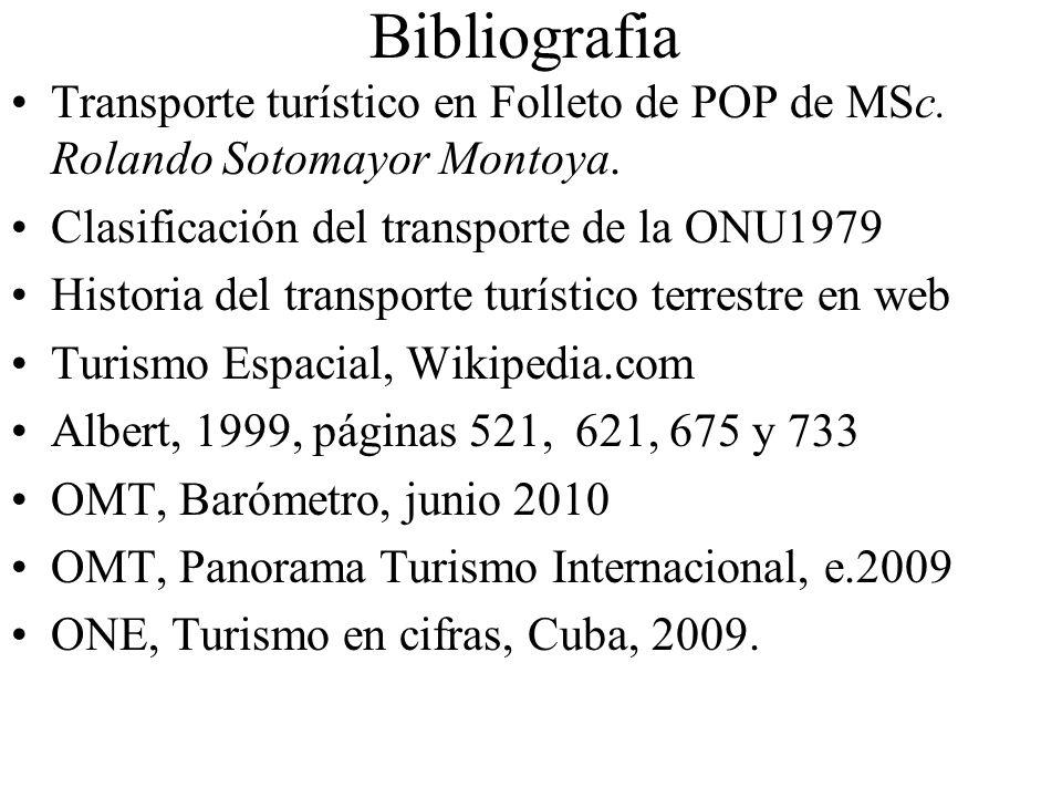 Bibliografia Transporte turístico en Folleto de POP de MSc. Rolando Sotomayor Montoya. Clasificación del transporte de la ONU1979.
