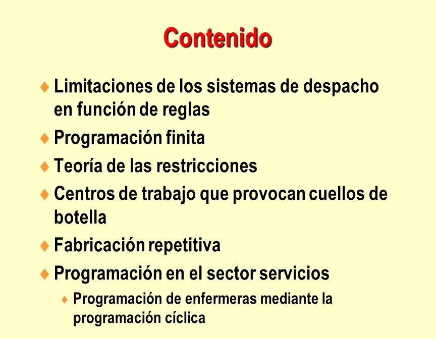 Contenido Limitaciones de los sistemas de despacho en función de reglas. Programación finita. Teoría de las restricciones.
