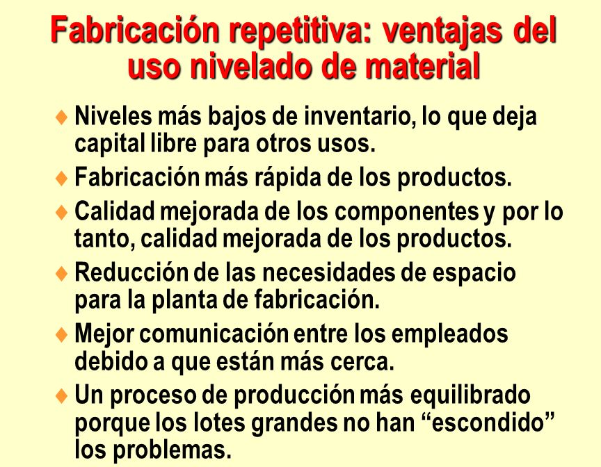 Fabricación repetitiva: ventajas del uso nivelado de material