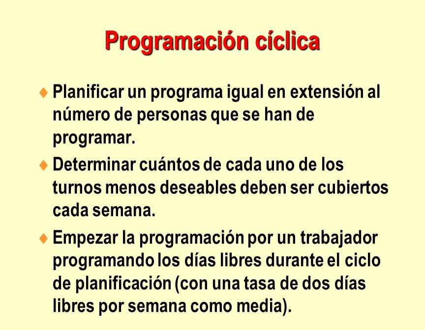 Programación cíclica Planificar un programa igual en extensión al número de personas que se han de programar.