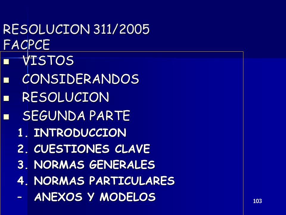 RESOLUCION 311/2005 FACPCE VISTOS CONSIDERANDOS RESOLUCION