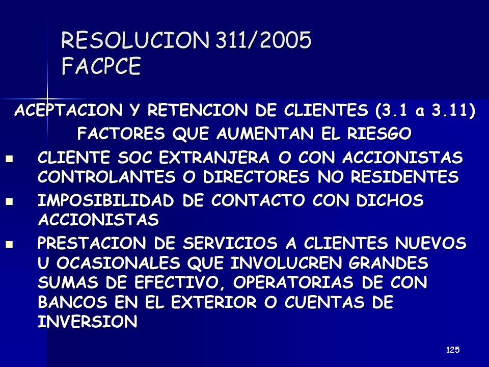 RESOLUCION 311/2005 FACPCE ACEPTACION Y RETENCION DE CLIENTES (3.1 a 3.11) FACTORES QUE AUMENTAN EL RIESGO.