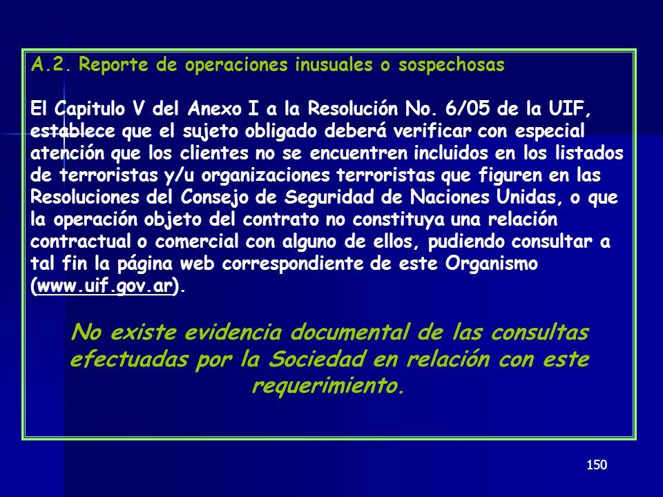 A.2. Reporte de operaciones inusuales o sospechosas