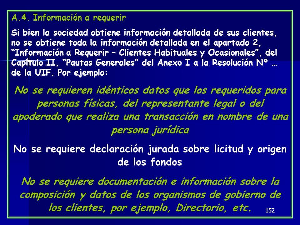 No se requiere declaración jurada sobre licitud y origen de los fondos