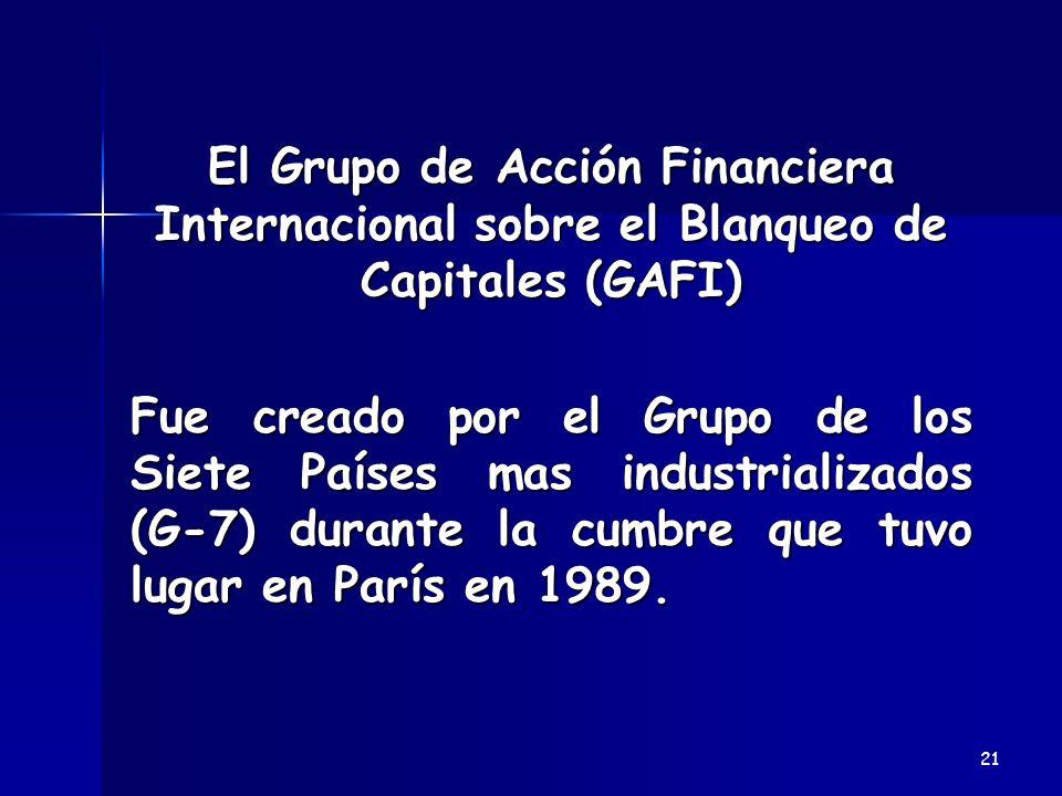 El Grupo de Acción Financiera Internacional sobre el Blanqueo de Capitales (GAFI)