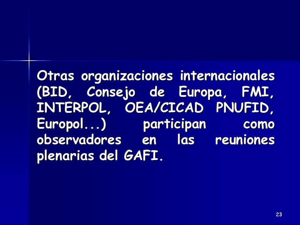Otras organizaciones internacionales (BID, Consejo de Europa, FMI, INTERPOL, OEA/CICAD PNUFID, Europol...) participan como observadores en las reuniones plenarias del GAFI.