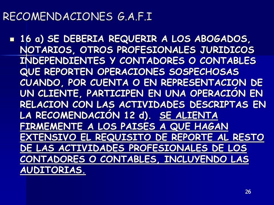 RECOMENDACIONES G.A.F.I