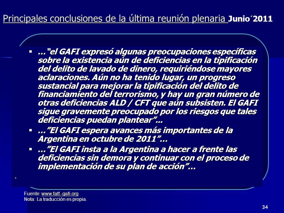 Principales conclusiones de la última reunión plenaria Junio´2011