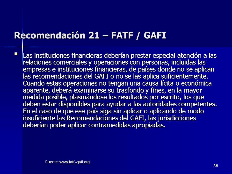 Recomendación 21 – FATF / GAFI