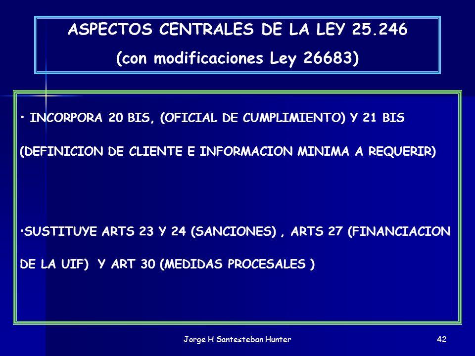 ASPECTOS CENTRALES DE LA LEY 25.246 (con modificaciones Ley 26683)