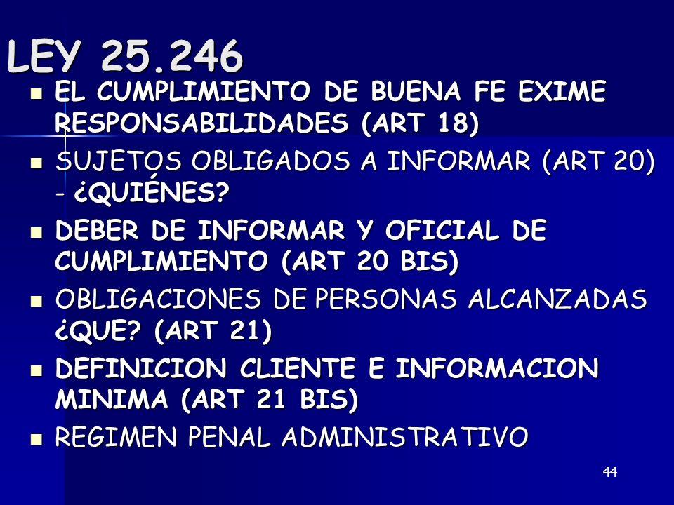 LEY 25.246 EL CUMPLIMIENTO DE BUENA FE EXIME RESPONSABILIDADES (ART 18) SUJETOS OBLIGADOS A INFORMAR (ART 20) - ¿QUIÉNES