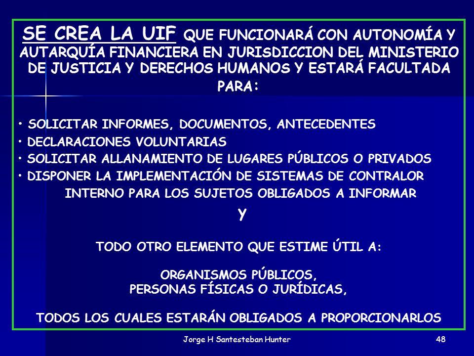 SE CREA LA UIF QUE FUNCIONARÁ CON AUTONOMÍA Y AUTARQUÍA FINANCIERA EN JURISDICCION DEL MINISTERIO DE JUSTICIA Y DERECHOS HUMANOS Y ESTARÁ FACULTADA PARA: