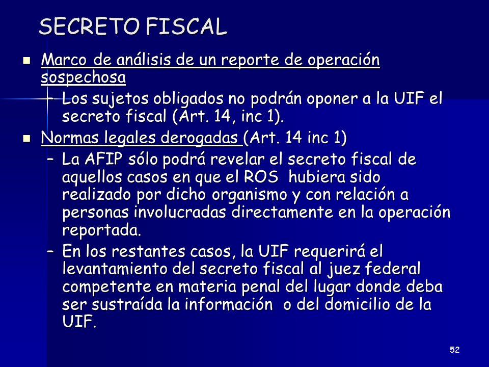 SECRETO FISCAL Marco de análisis de un reporte de operación sospechosa