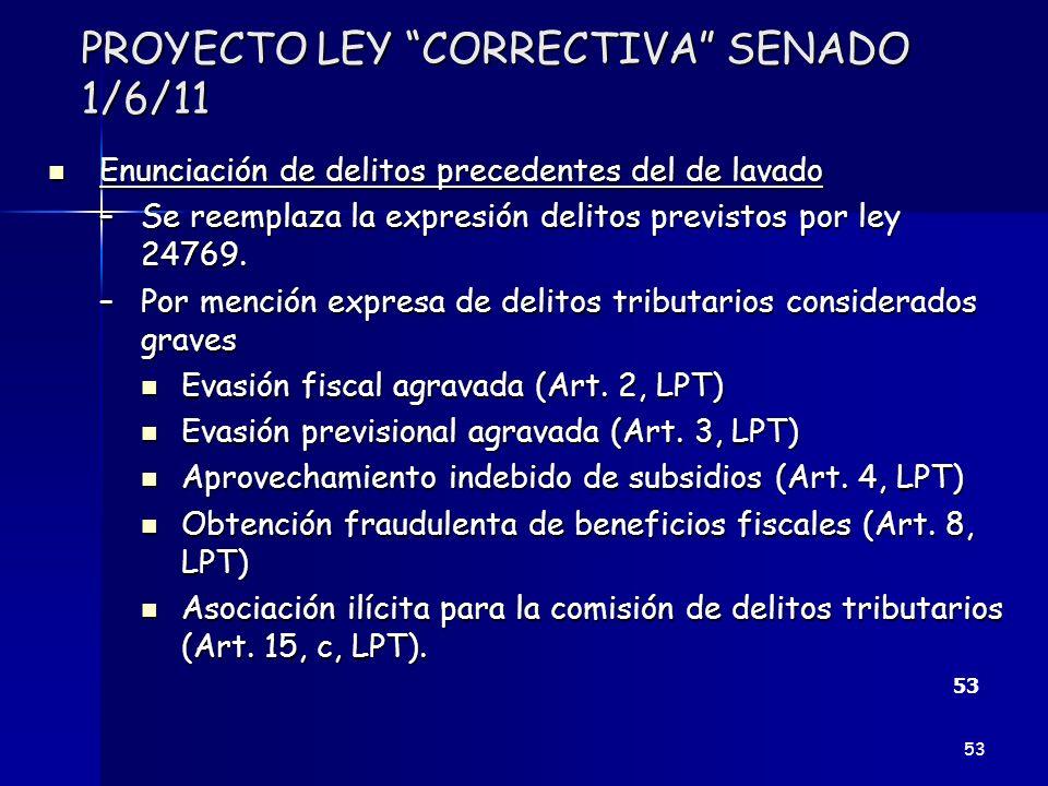 PROYECTO LEY CORRECTIVA SENADO 1/6/11