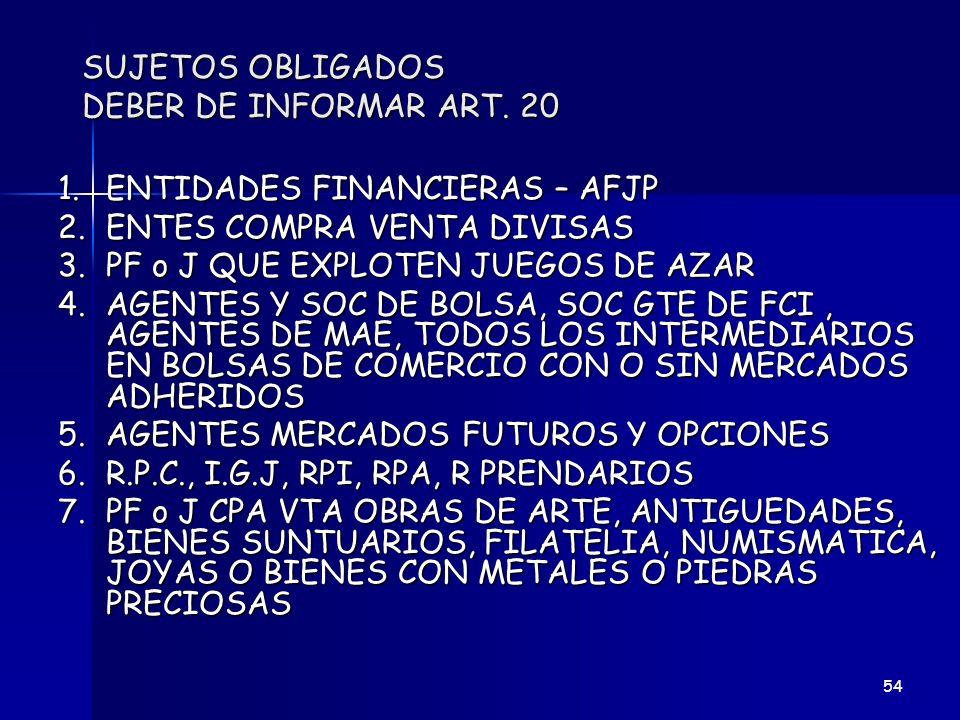 SUJETOS OBLIGADOS DEBER DE INFORMAR ART. 20