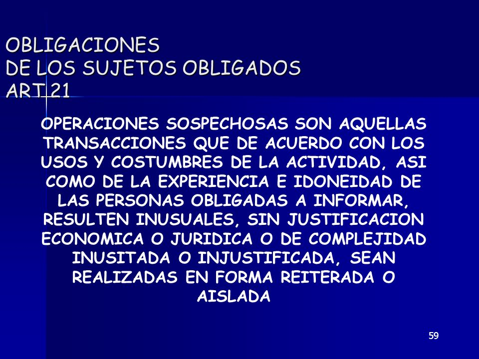 OBLIGACIONES DE LOS SUJETOS OBLIGADOS ART 21
