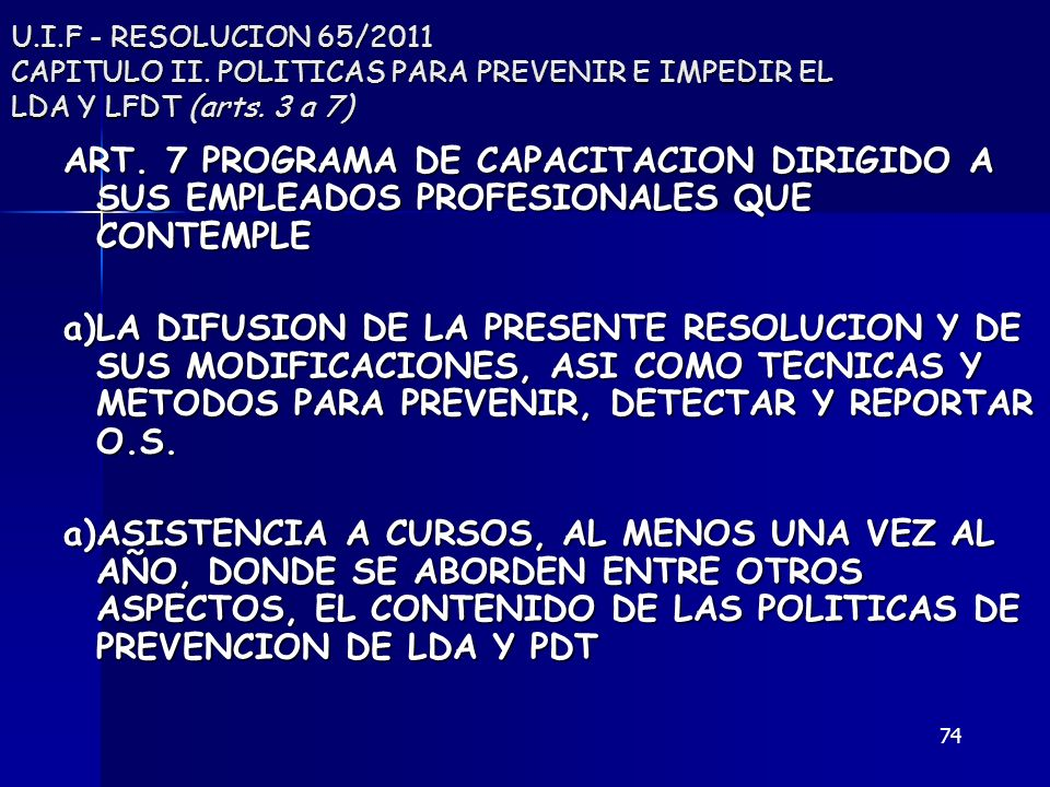 U. I. F - RESOLUCION 65/2011 CAPITULO II